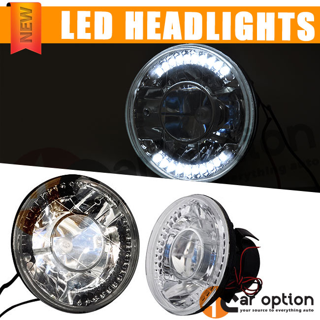 Details about Fits Round H4 Bulbs 5 3 4 Inch 5 75 Inch Clear LED Projector  Headlights