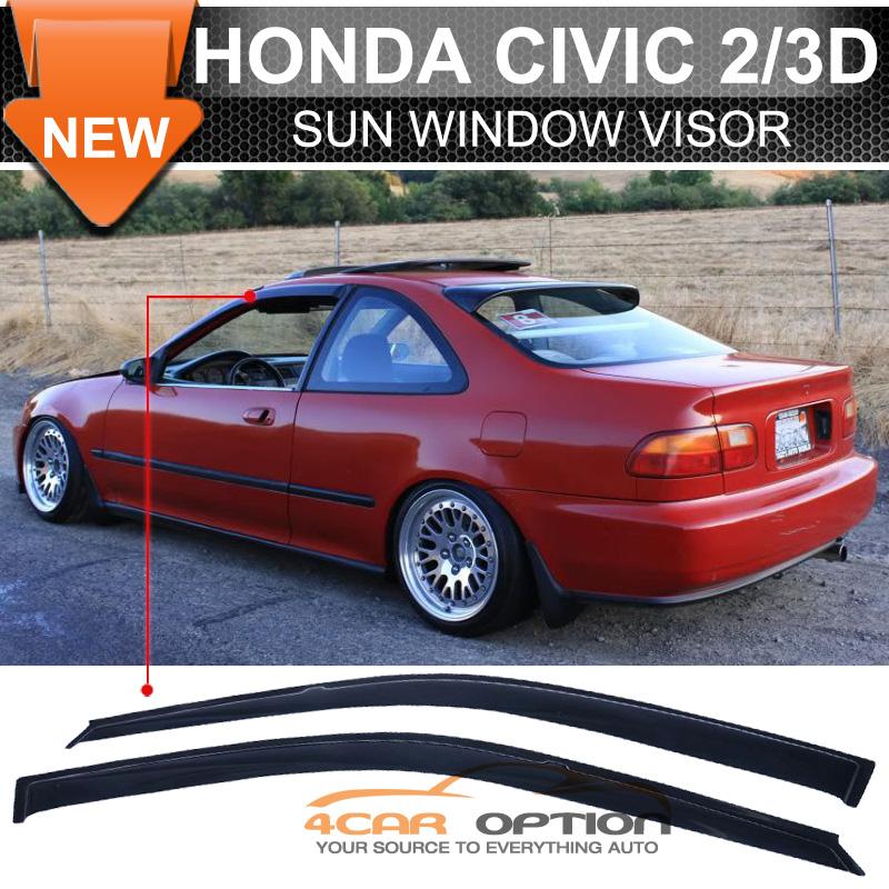 Fits 92 95 honda civic 2 3dr sun window visor dark smoke for 2003 acura tl window visor