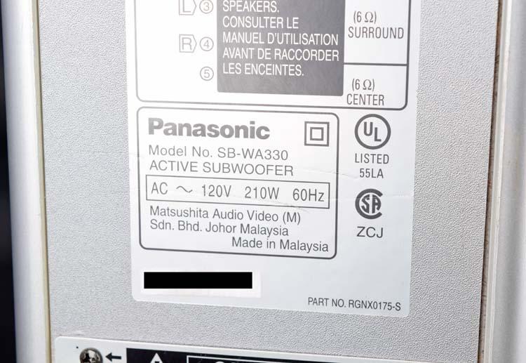 Panasonic sb wa310 subwoofer