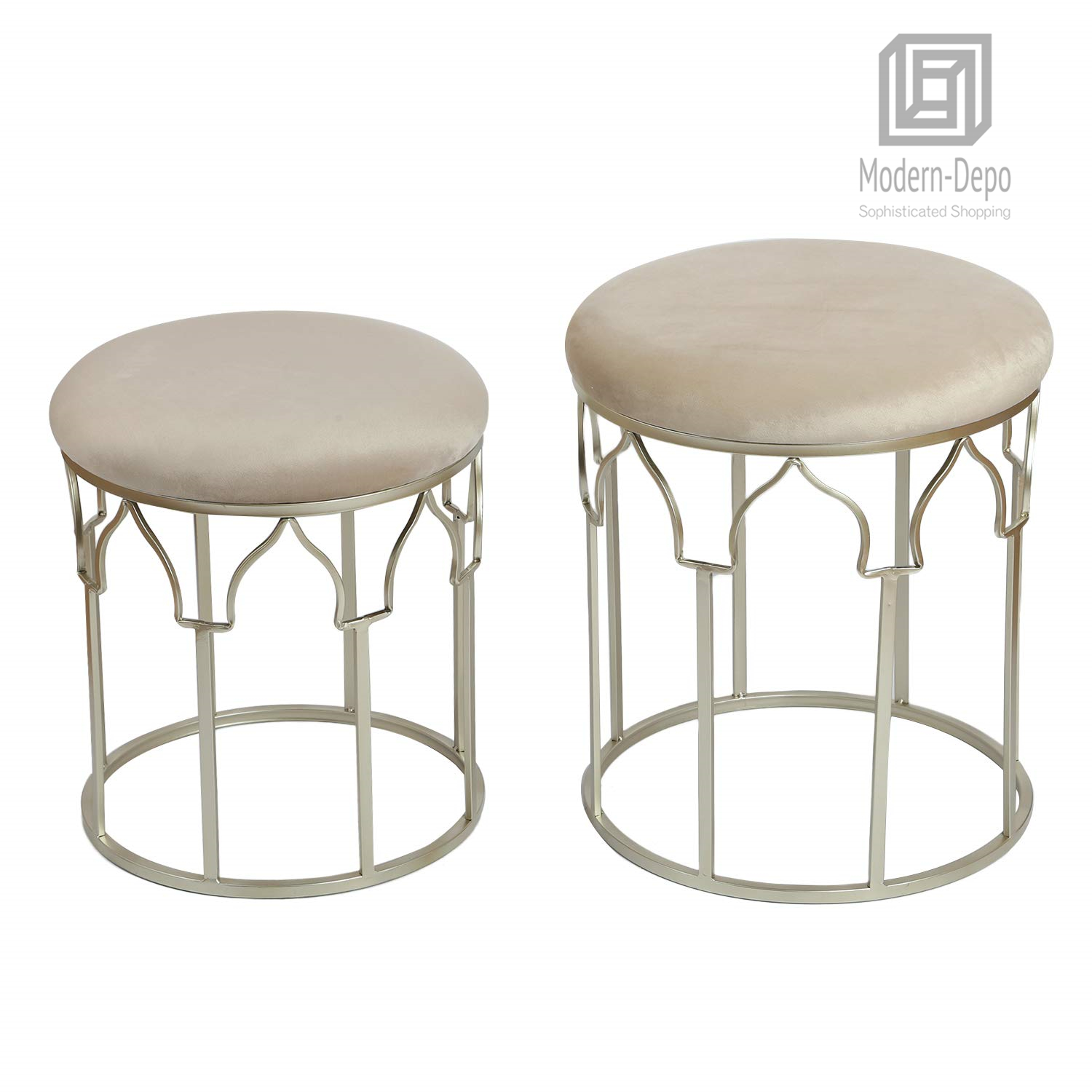Surprising Details About Round Ottoman Upholstered Foot Rest Stool For Living Room Metal Frame Stackable Machost Co Dining Chair Design Ideas Machostcouk