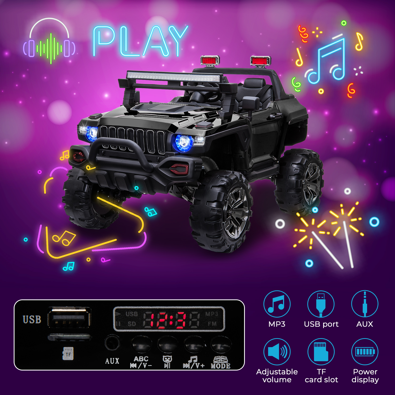 2-Seaters-4-4-Off-Road-Electric-12V-Ride-on-Car-with-Remote-Control miniature 14