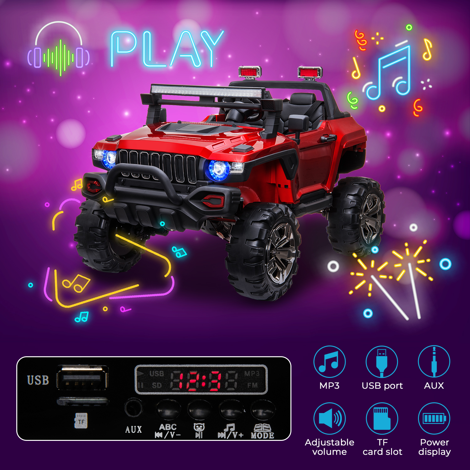 2-Seaters-4-4-Off-Road-Electric-12V-Ride-on-Car-with-Remote-Control miniature 23