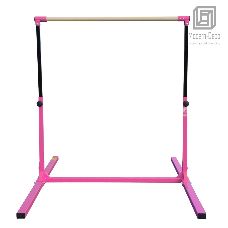 3-5ft-Height-Adjustable-Pro-Gymnastics-Horizontal-Bar-for-Kids-Home-Training thumbnail 5