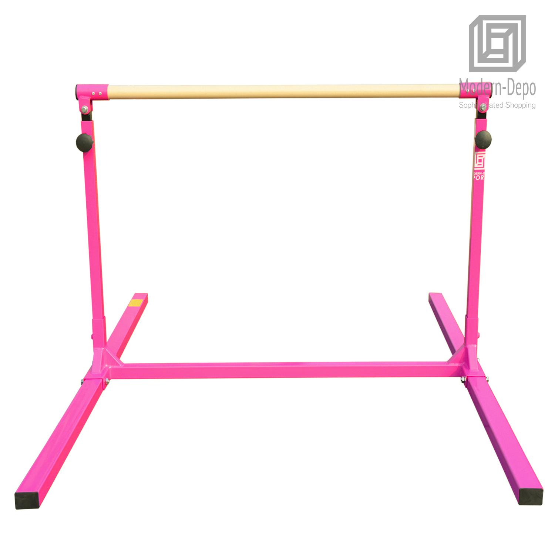 3-5ft-Height-Adjustable-Pro-Gymnastics-Horizontal-Bar-for-Kids-Home-Training thumbnail 6