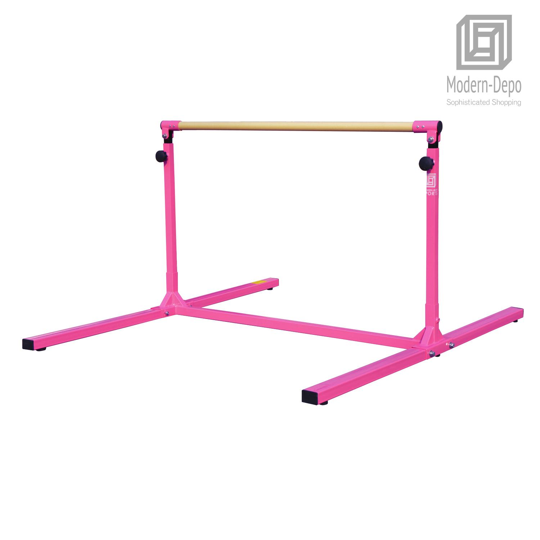 3-5ft-Height-Adjustable-Pro-Gymnastics-Horizontal-Bar-for-Kids-Home-Training thumbnail 4