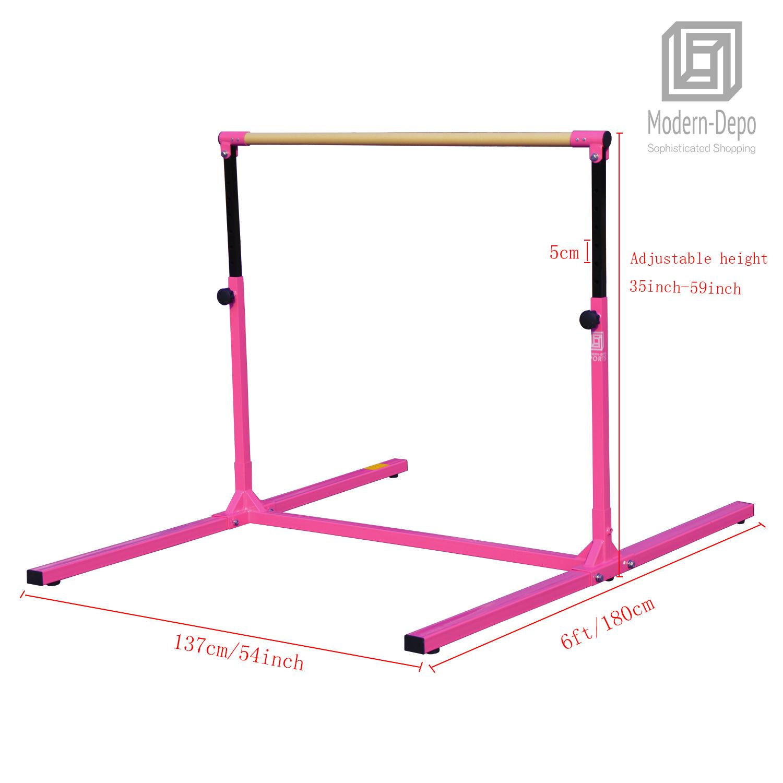 3-5ft-Height-Adjustable-Pro-Gymnastics-Horizontal-Bar-for-Kids-Home-Training thumbnail 8