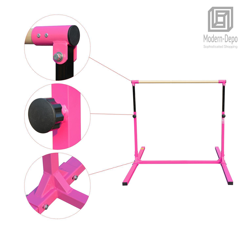 3-5ft-Height-Adjustable-Pro-Gymnastics-Horizontal-Bar-for-Kids-Home-Training thumbnail 9
