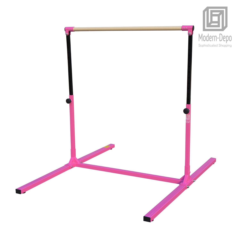 3-5ft-Height-Adjustable-Pro-Gymnastics-Horizontal-Bar-for-Kids-Home-Training thumbnail 3