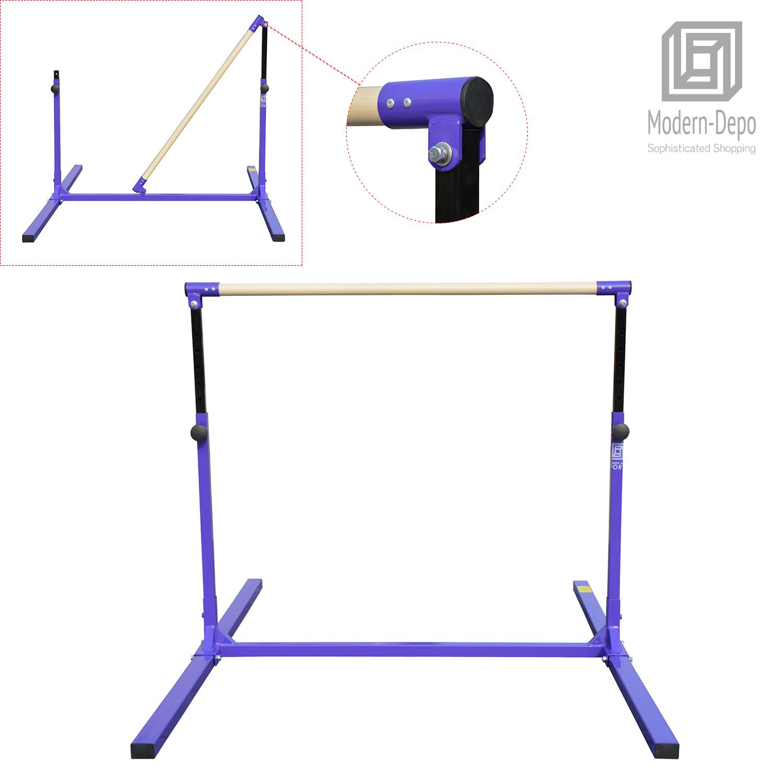 3-5ft-Height-Adjustable-Pro-Gymnastics-Horizontal-Bar-for-Kids-Home-Training thumbnail 17
