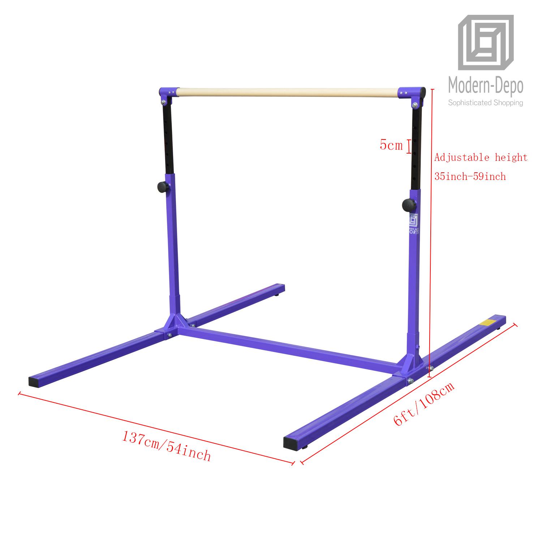 3-5ft-Height-Adjustable-Pro-Gymnastics-Horizontal-Bar-for-Kids-Home-Training thumbnail 16