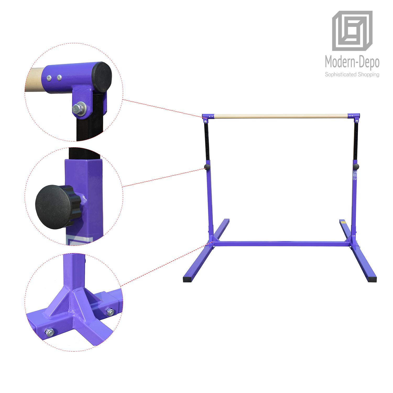 3-5ft-Height-Adjustable-Pro-Gymnastics-Horizontal-Bar-for-Kids-Home-Training thumbnail 15