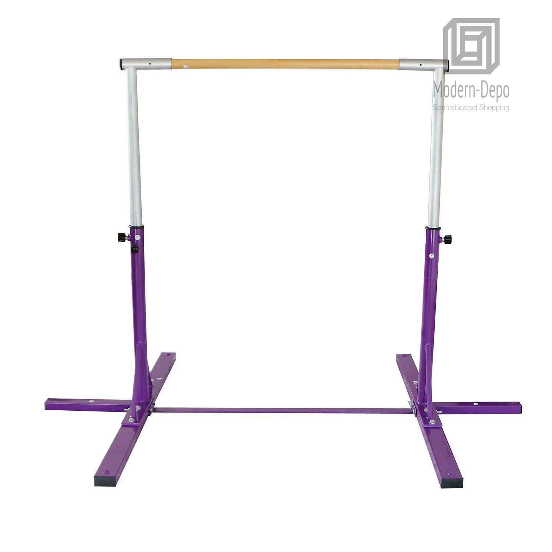 Gymnastics-Junior-Training-Bar-Kids-Adjustable-Horizontal-Kip-Bar-Purple-Pink thumbnail 14