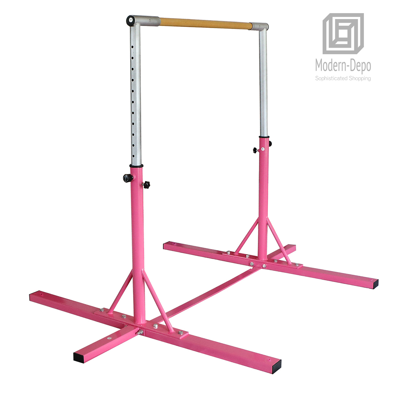 Gymnastics-Junior-Training-Bar-Kids-Adjustable-Horizontal-Kip-Bar-Purple-Pink thumbnail 8
