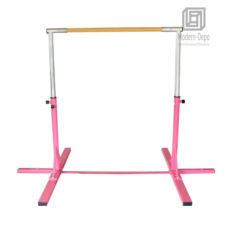 Gymnastics-Junior-Training-Bar-Kids-Adjustable-Horizontal-Kip-Bar-Purple-Pink thumbnail 9