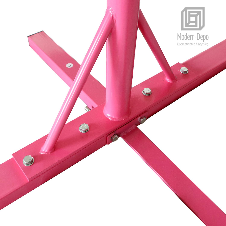 Gymnastics-Junior-Training-Bar-Kids-Adjustable-Horizontal-Kip-Bar-Purple-Pink thumbnail 10