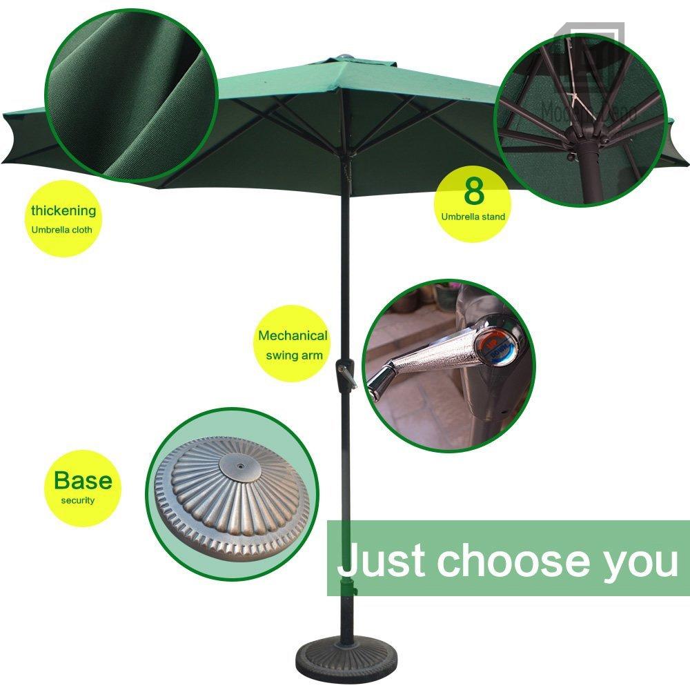 Green 9 Ft Patio Umbrella With Push Button Tilt And Crank For Beach