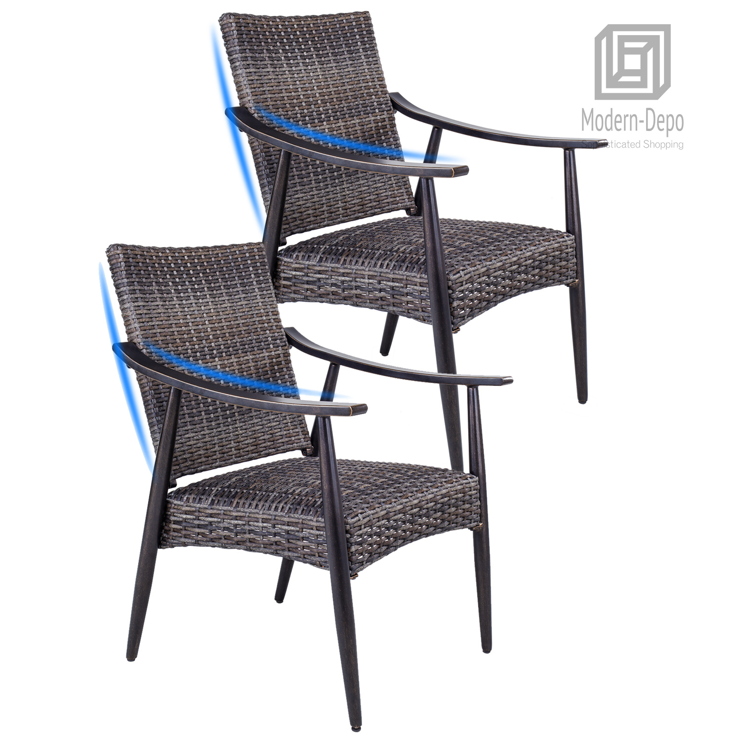Details About Patio Garden Wicker Dining Chairs Indoor Outdoor Rattan Arm Chairs Set Of 2