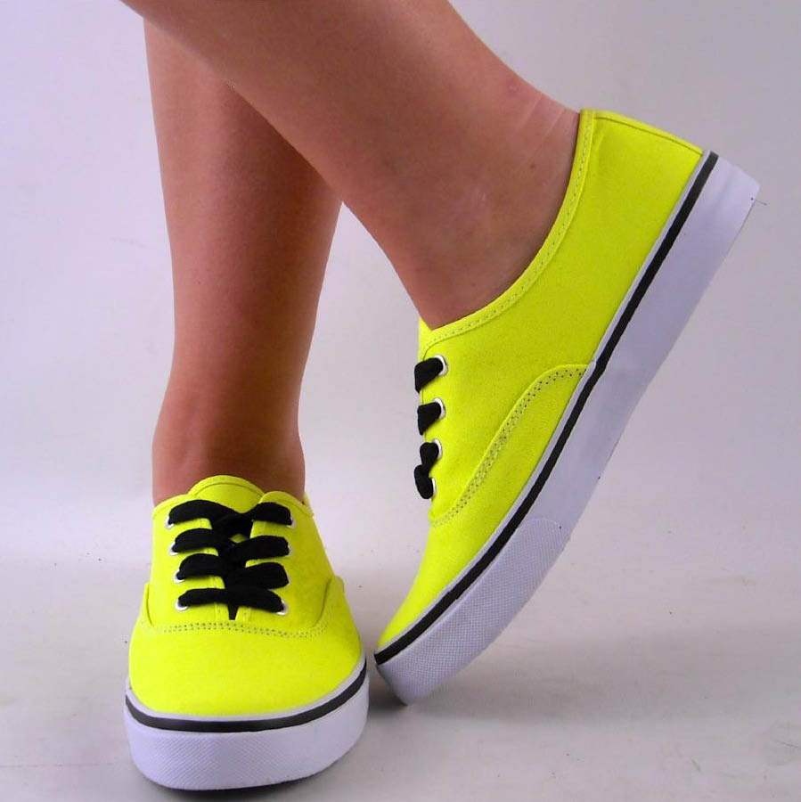NEW WOMENS YELLOW NEON DECK TENNIS SHOE CANVAS SNEAKER | eBay