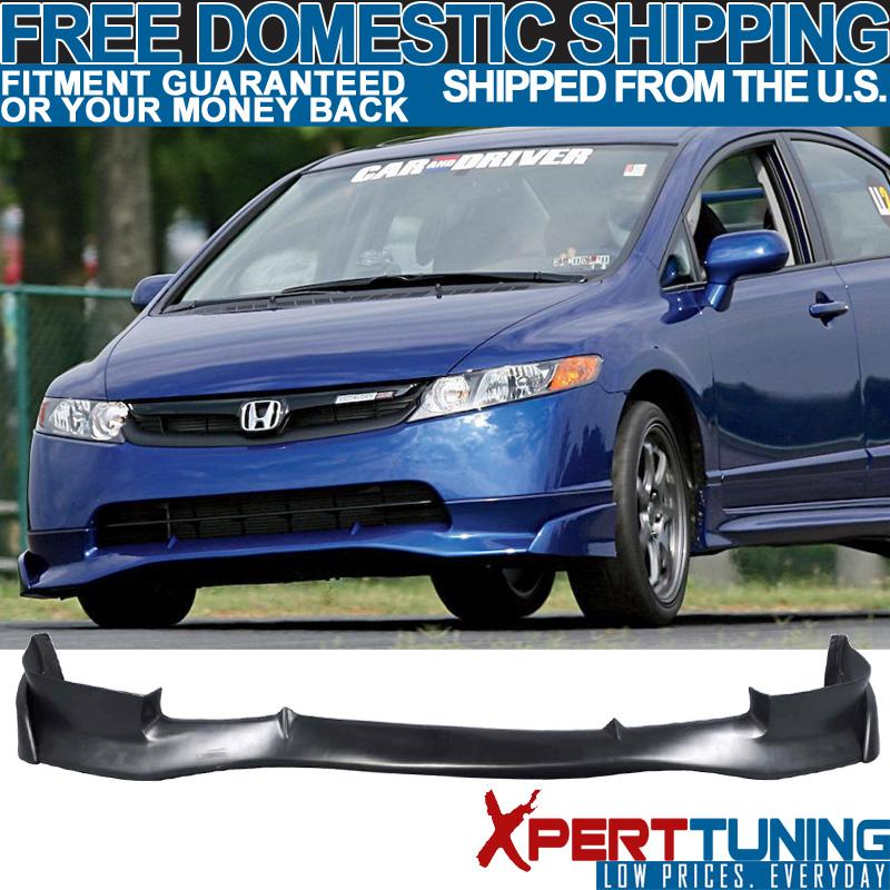 Fits 06-08 Honda Civic 4Dr Mugen Si Front Bumper Lip Spoiler Poly Urethane PU