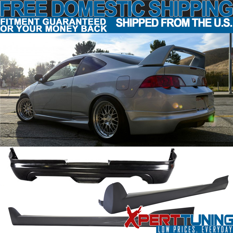 Fits 02-06 Acura RSX Mugen Style Unpainted Black Side Skirt Extensions PU Pair