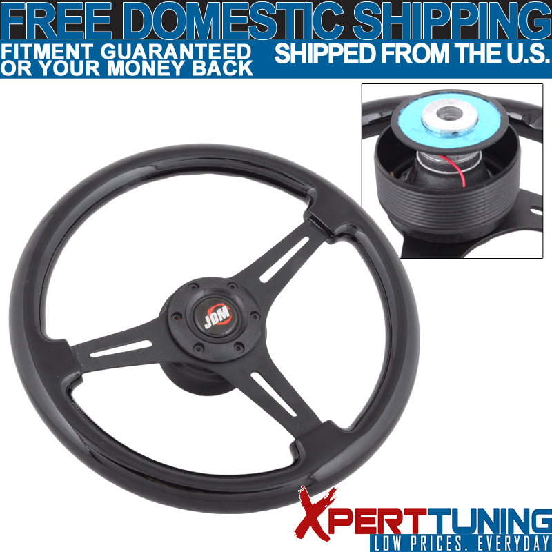 6 Hole Hub Adapter Miata RX7 Fits 350MM Wood Grain Steering Wheel Black Trim