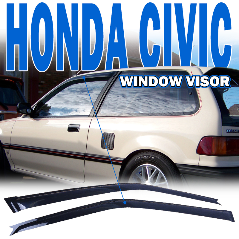 Fits 88-89 Honda Civic Hatchback Slim Type Acrylic Window Visors 2Pc