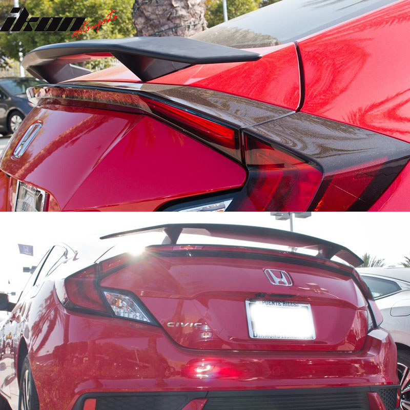 Fits 16 19 Honda Civic Coupe 2dr Ikon Type A Trunk Spoiler