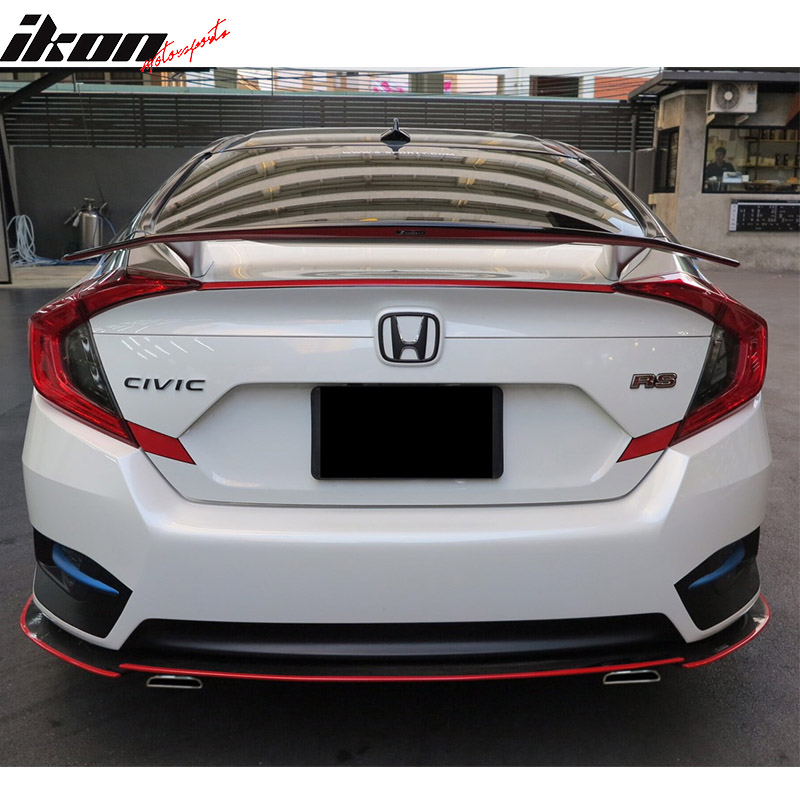 Fits 16 17 Honda Civic Sedan 4dr Ikon Type A Trunk Spoiler