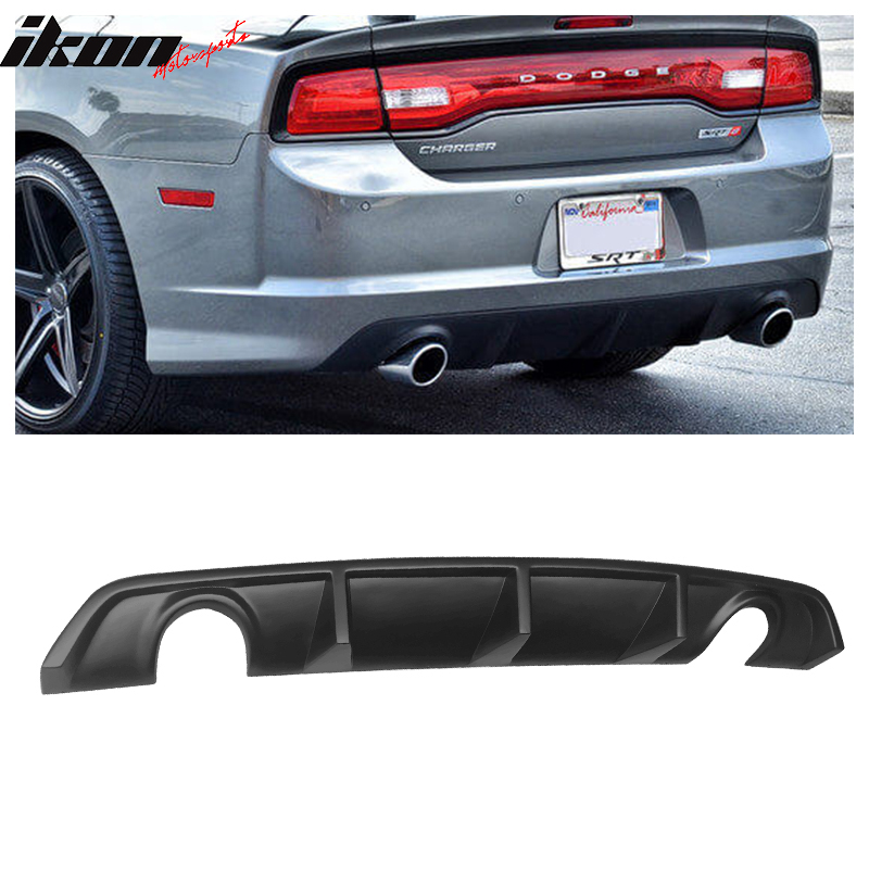 2013 Rear Bumper Diffuser Compatible With 2012-2014 Dodge Charger SRT V2 Style PP Splitter Spoiler Valance Chin Diffuser Body kit by IKON MOTORSPORTS