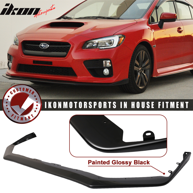 for 15 17 subaru wrx sti jdm oe style front bumper lip painted glossy black pp ebay. Black Bedroom Furniture Sets. Home Design Ideas
