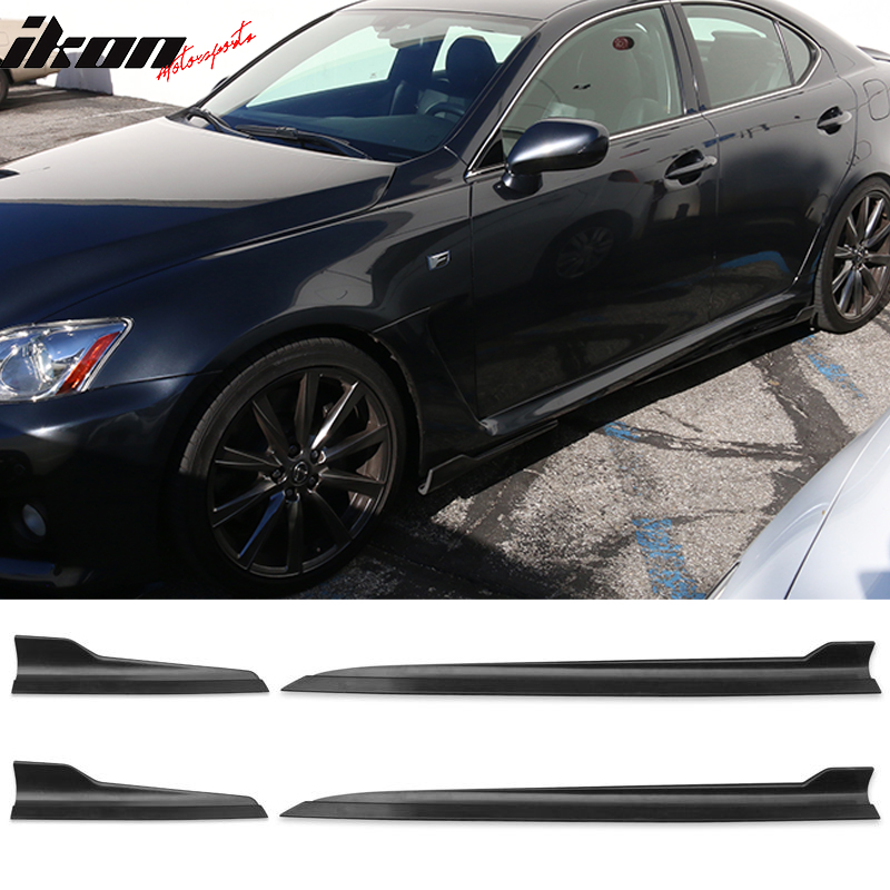 Black Poly Urethane Side Skirt Add-On Kit by/ IKON/ MOTORSPORTS/ |2007 2008 2009 2010 2011 2012 Side Skirts Compatible With 2006-2013 Lexus IS250 IS350
