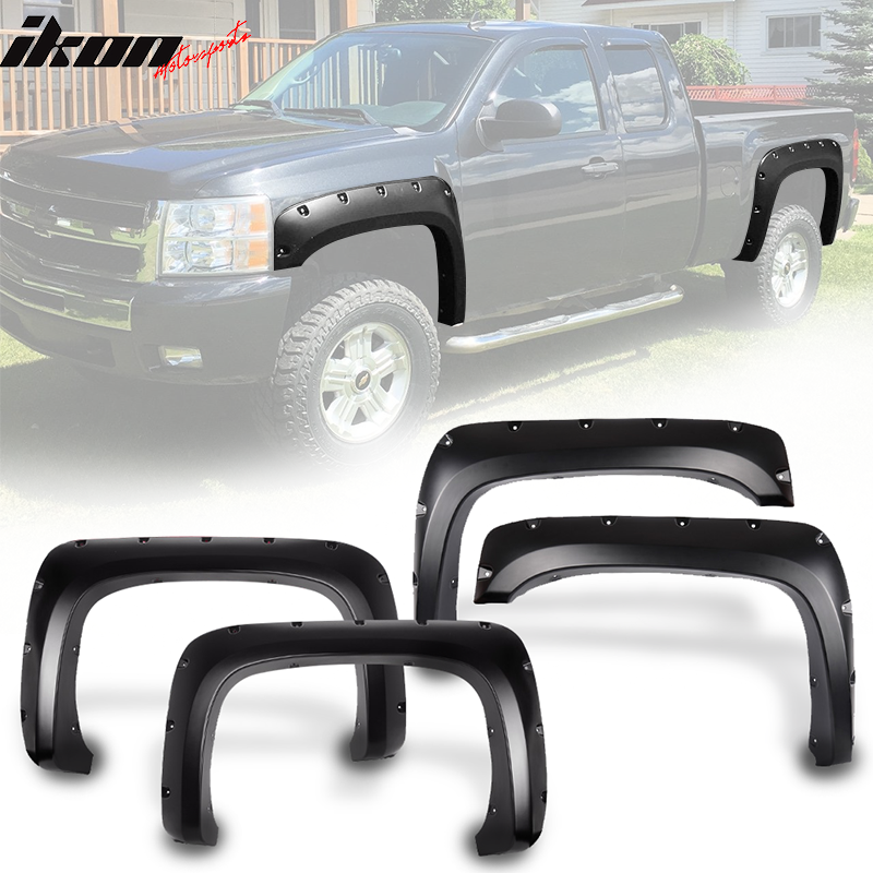 Fits 07-14 Silverado Long Bed 6.5 8 FT Black PP Front Rear Fender Flares Cover