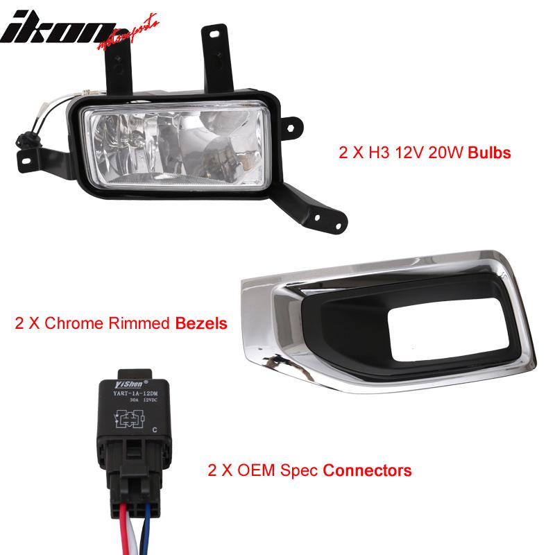 Fits 15-17 Yukon Front Fog Lamp Foglight Chrome Bezel Pair LH RH Clear Lens