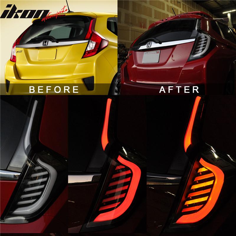 Fits 14-17 Honda FIT JAZZ Full LED Light Bar Tail Lights Switchback Black Clear 848524093456   eBay