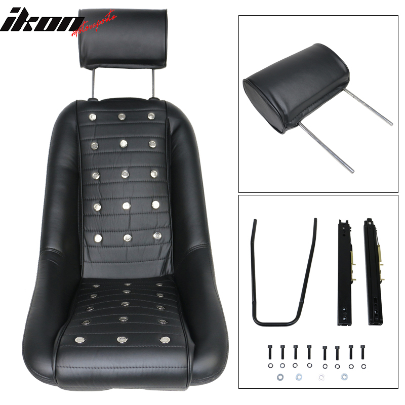for classic car mid sized bucket seat with sliders black pu faux leather 842961105970 ebay. Black Bedroom Furniture Sets. Home Design Ideas