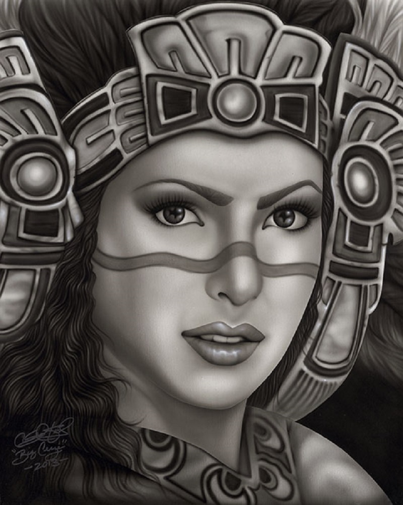 This is an image of Rare Aztec Princess Drawing