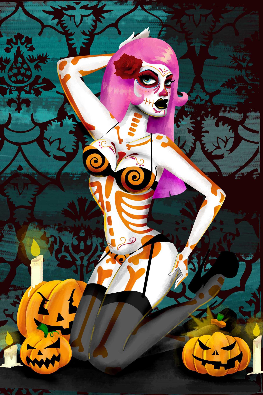 bonesandrea young halloween skeleton pin up girl pumpkins canvas