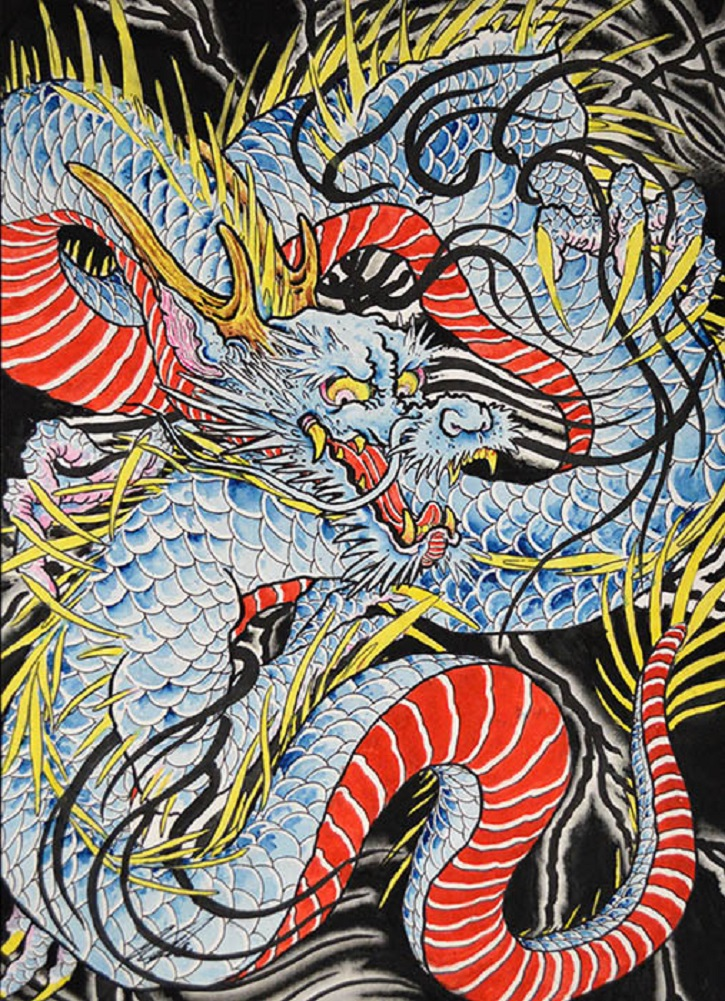 Dragon in Indigo by Clark North w/ Antlers Japanese Framed Tattoo ...