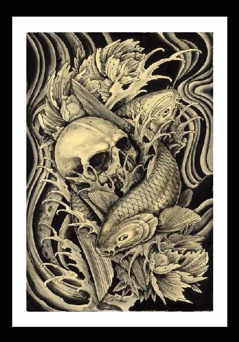 Koi skull by clark north japanese fish asian traditional for Japanese koi art prints