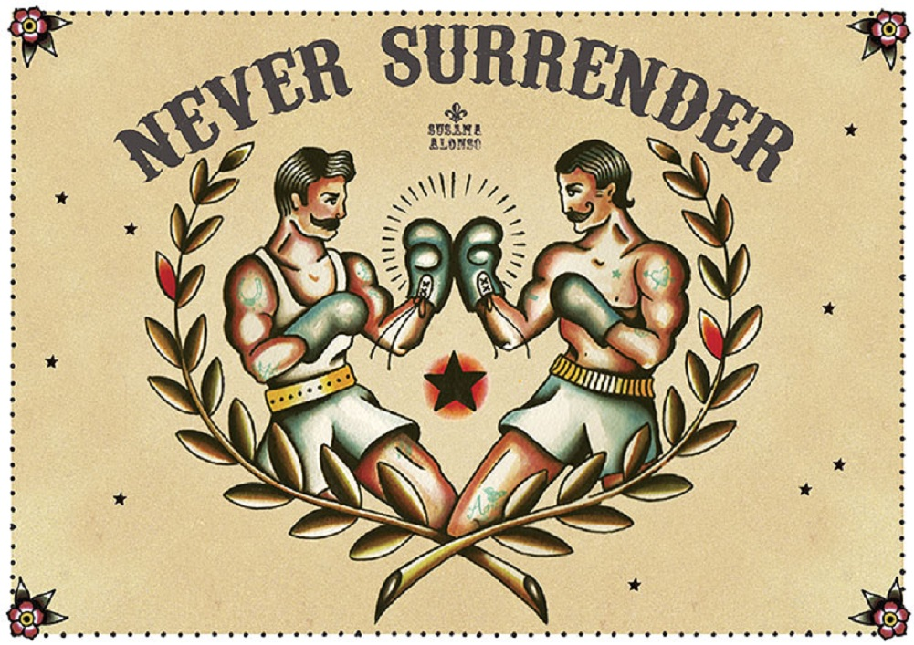 1c939315fa6 Never Surrender by Susana Alonso Old School Boxer Tattoo Canvas Fine Art  Print