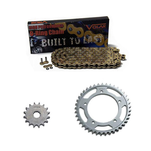Gold for 1979-1981 Honda CM400 A//C//E//T Volar O-Ring Chain and Sprocket Kit