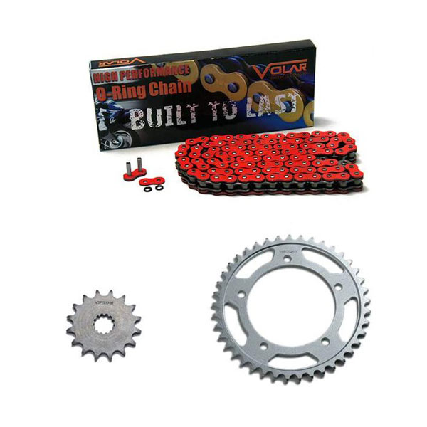 Red for 1977-1979 Kawasaki KZ650 Z650 Volar O-Ring Chain and Sprocket Kit