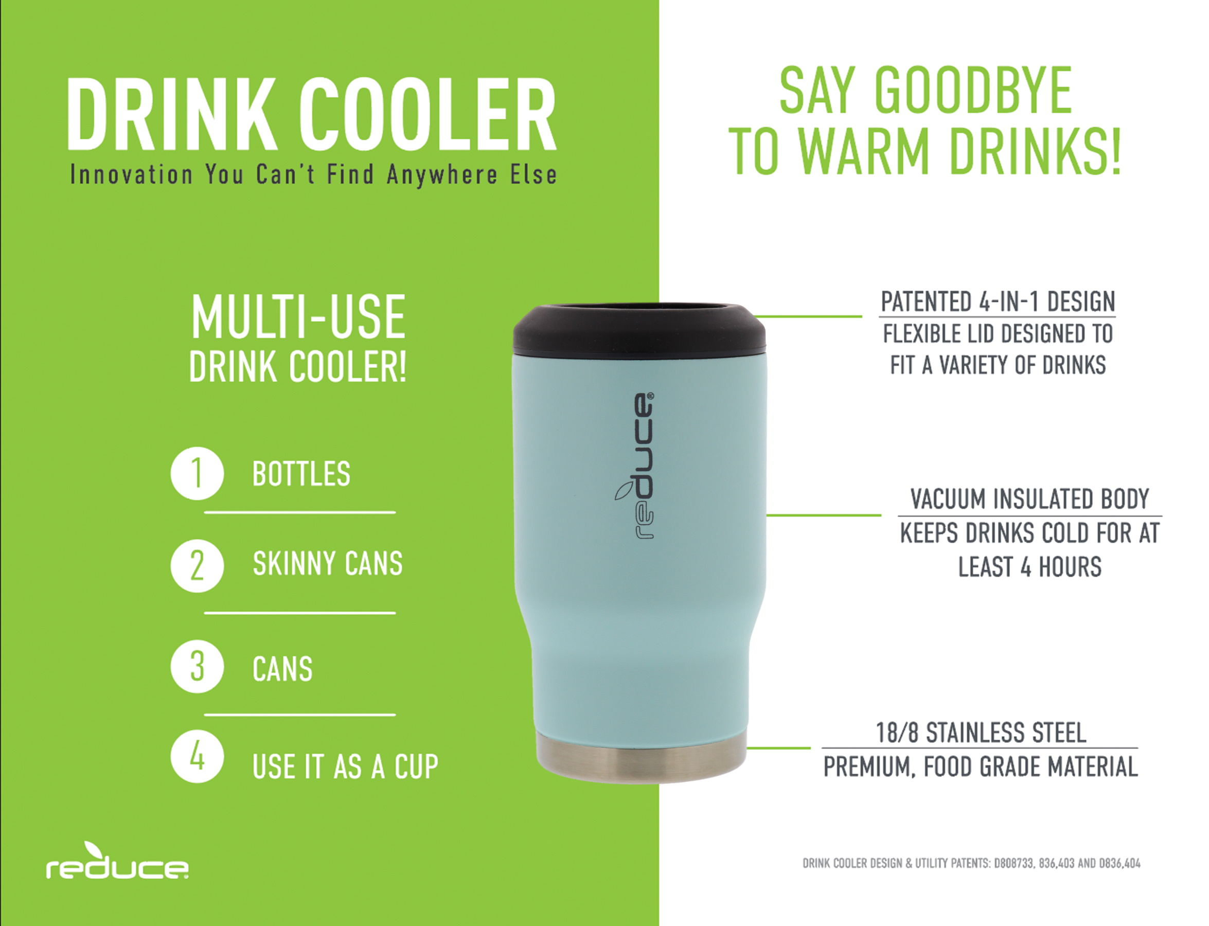 This Drink Cooler Keeps Bottles REDUCE 4-in-1 Stainless Steel Bottle and Can Insulator Gold Perfect for Outdoor Drinking Cans Skinny Cans and Mixed Drinks Ice Cold Sweat-Free