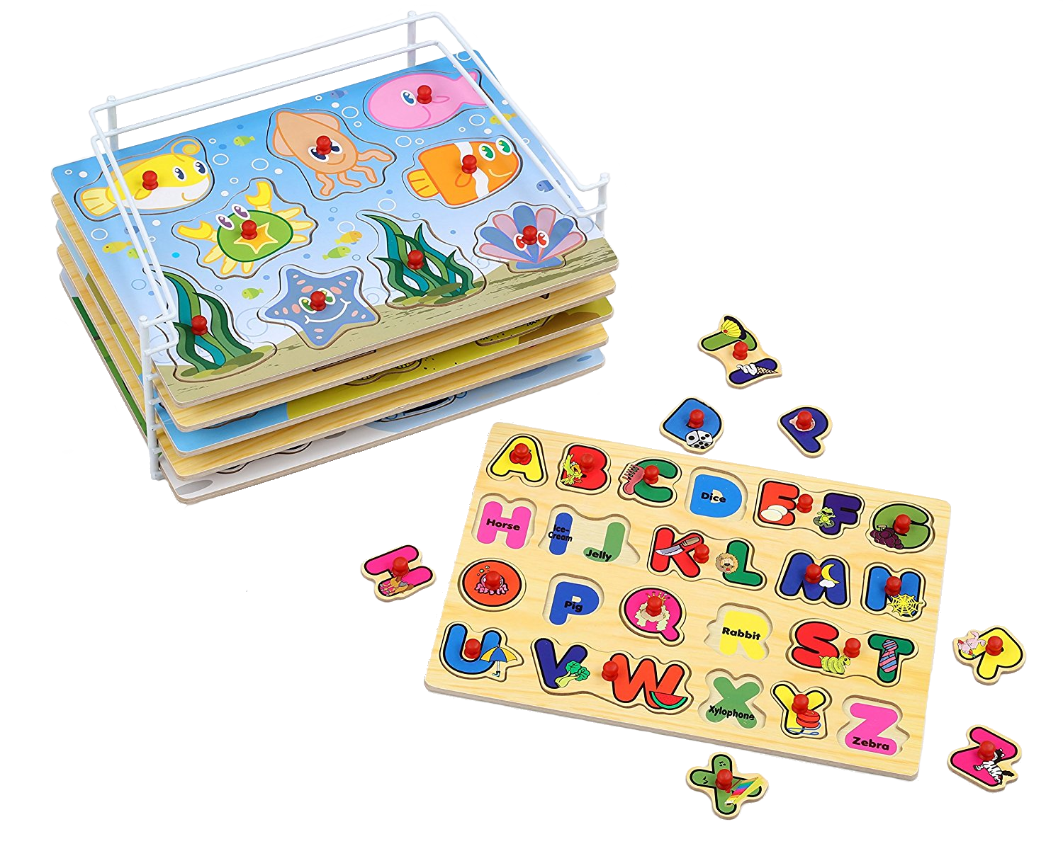 Baby Toddler Toys Wisdkids Wooden Jigsaw Puzzles For Toddlers Kids 3d Board Block Toys Animal Shape Puzzles Preschool Educational Toys For 3 4 5 Years Old Boys Girls Wisdom Play Baby