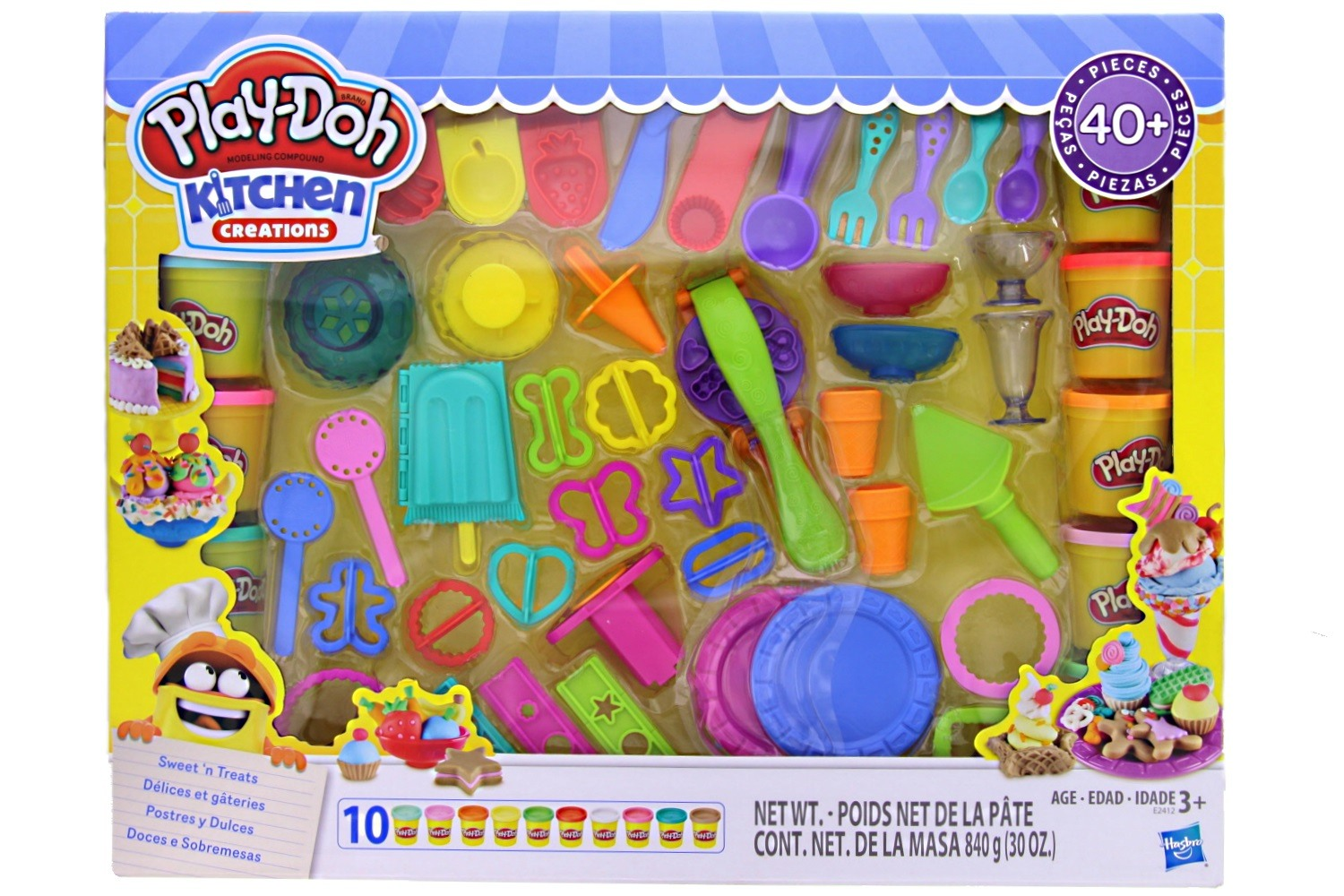 Play Doh Kitchen Creations Sweet N Treats Set 40 Pieces 10 Cans Of