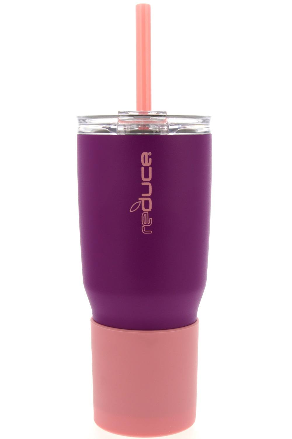 Silver Stainless Steel Travel Tumbler Cup w// Straw 01526 Reduce Cold-1 34 oz