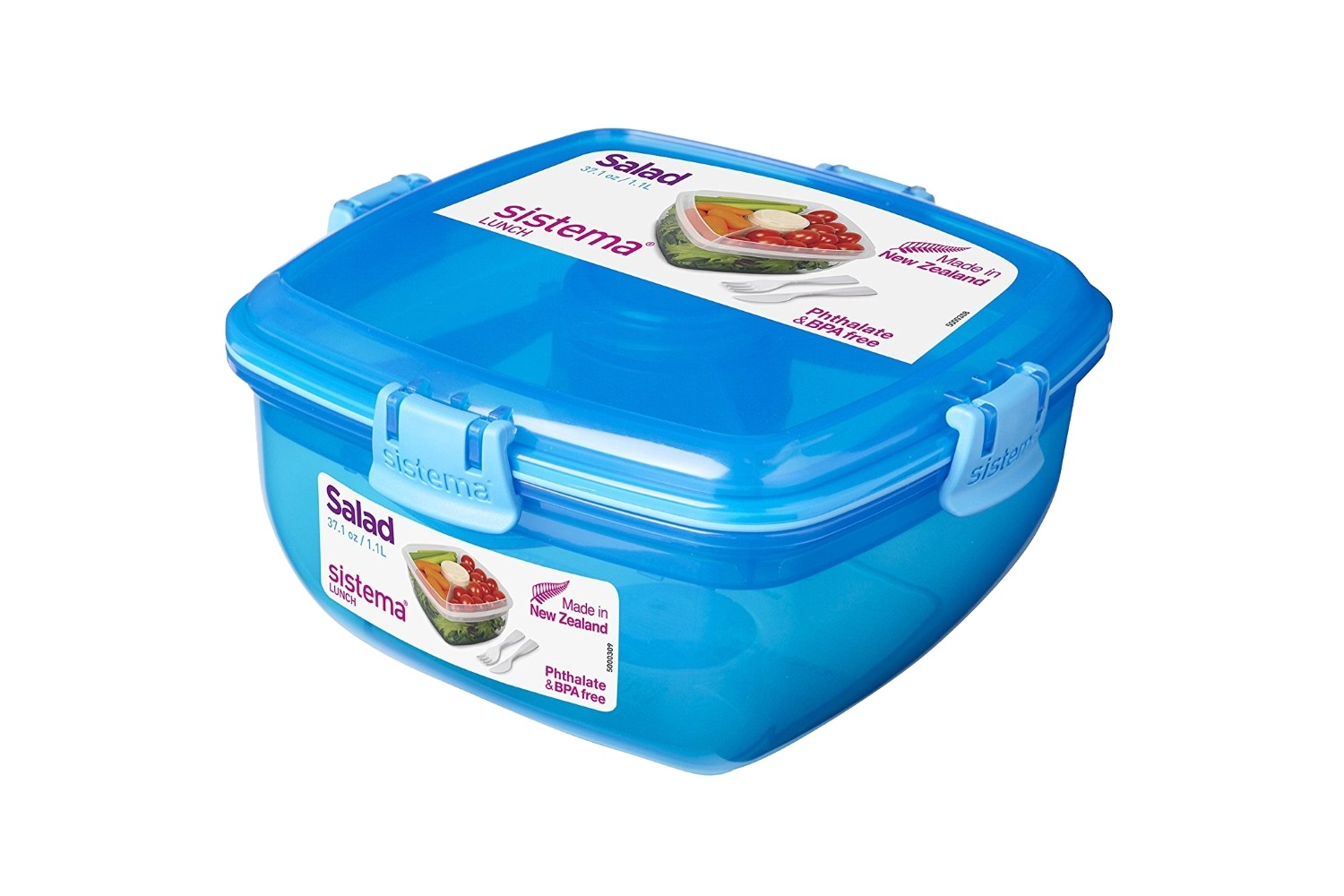 Sistema Lunch Salad To Go Container 371 Oz Blue