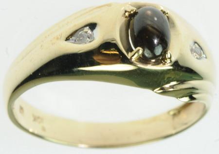 10K SOLID YELLOW GOLD DIAMOND TIGERS EYE GEMSTONE ESTATE RING J189250