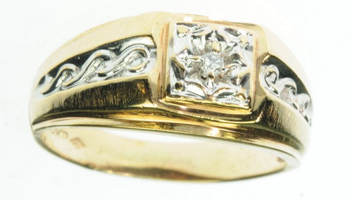 MENS 10K SOLID YELLOW GOLD DIAMOND SOLITAIRE BAND ESTATE RING J209119