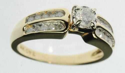 LADIES 14K SOLID YELLOW GOLD DIAMOND ENGAGEMENT ESTATE RING J213059